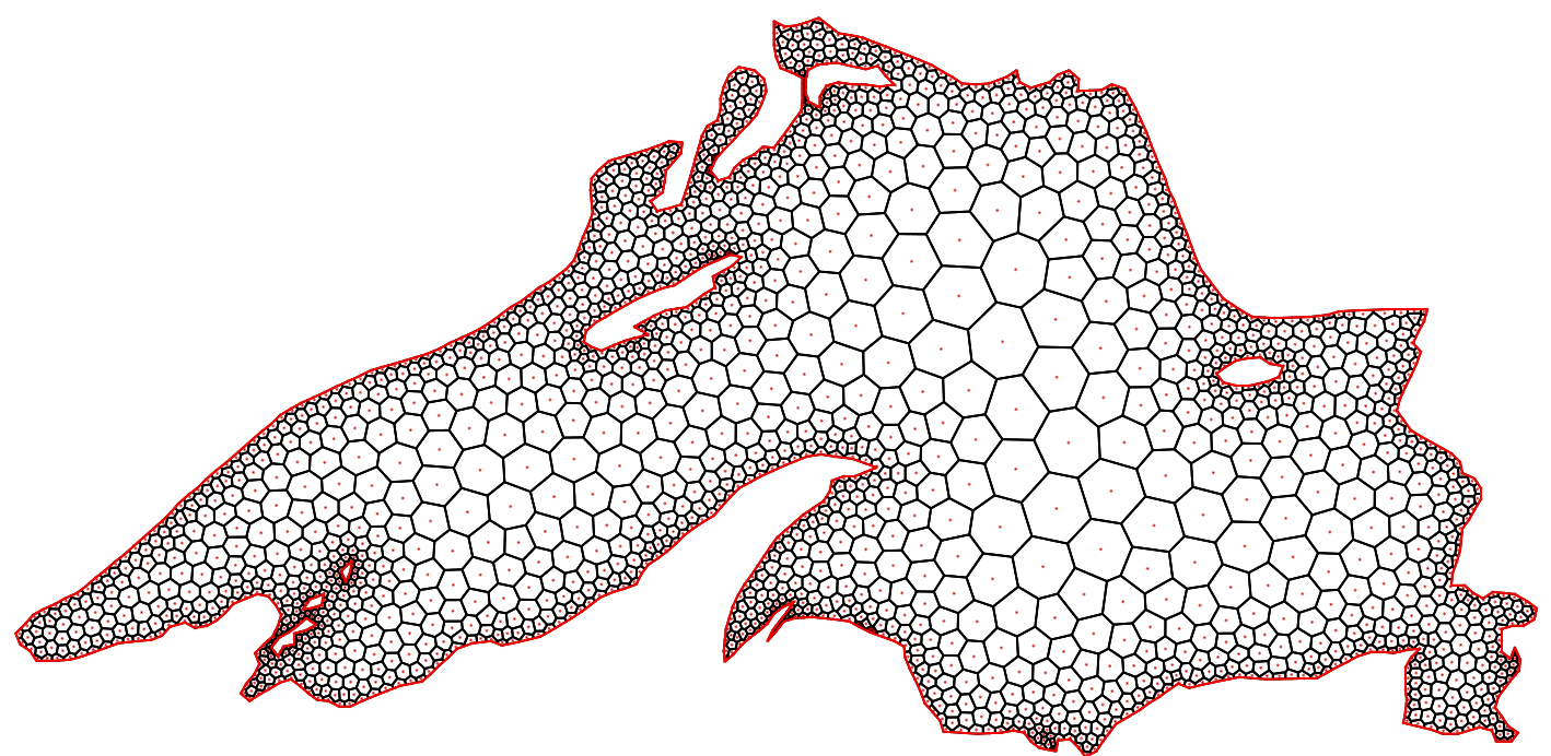 Project Geometricamesh Generation And Geometry Processing Voronoi Diagram Generator Figure 1 Cvt Top Optimized Mesh Bottom For Lake Superior Using A K Lipschitz Sizing Function With 07 The Underlying Delaunay Triangulation